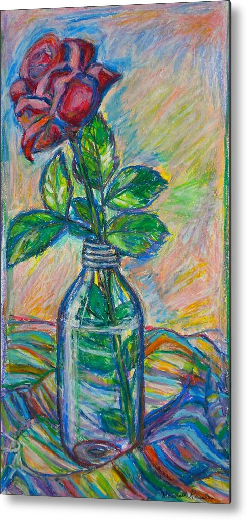 Still Life Metal Print featuring the painting Rose In A Bottle by Kendall Kessler