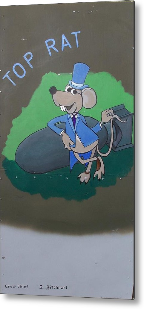 Nose Art Metal Print featuring the painting Top Rat by Gene Ritchhart