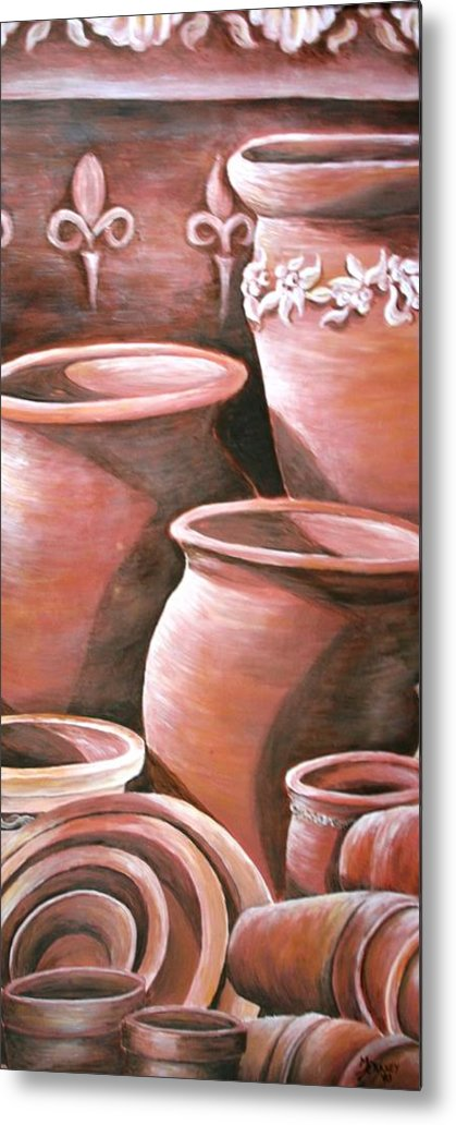 Clay Pots Metal Print featuring the painting Clay Pots by Melissa Wiater Chaney