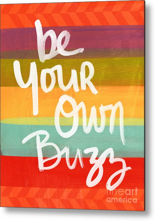 Stripes Metal Print featuring the painting Be Your Own Buzz by Linda Woods