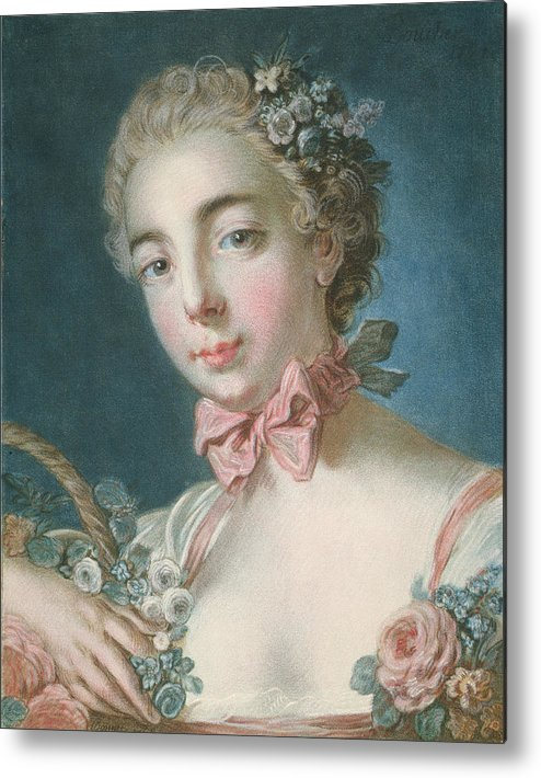 Flora Metal Print featuring the painting Head Of Flora by Francois Boucher