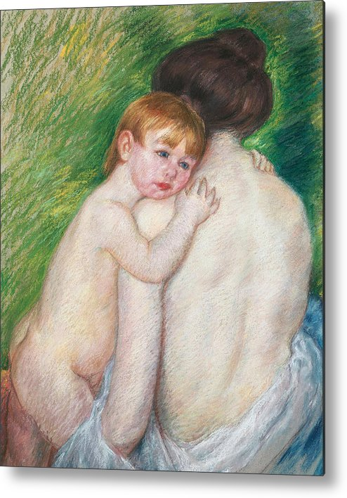 Child Metal Print featuring the painting The Bare Back by Mary Cassatt Stevenson