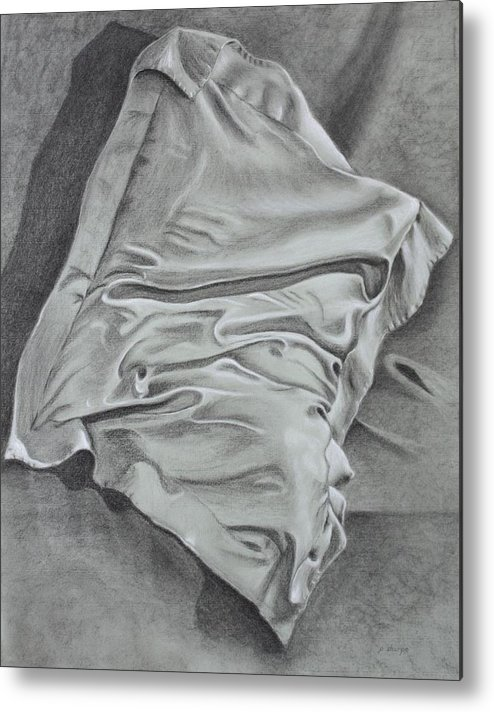 Pillow Still Life In Human Pose Metal Print featuring the drawing Pillow Talk by Patsy Sharpe