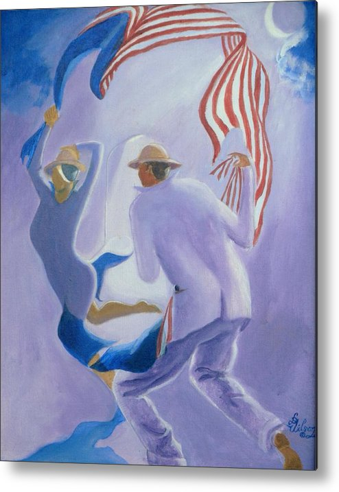 Genre Metal Print featuring the painting Liberty Chased By A Slave Observed By The Union by David G Wilson