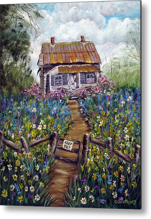 House Metal Print featuring the painting Abandoned House by Quwatha Valentine