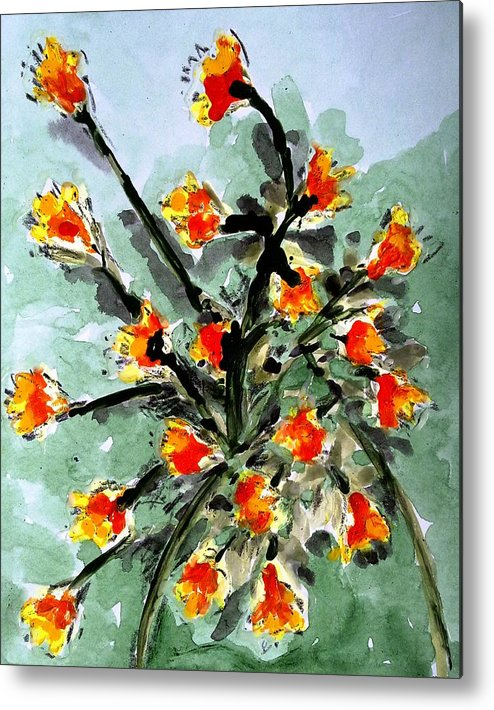Abstract Flowers Metal Print featuring the painting Divine Flowers by Baljit Chadha