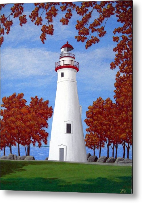 Lighthouse Paintings Metal Print featuring the painting Autumn At Marblehead by Frederic Kohli