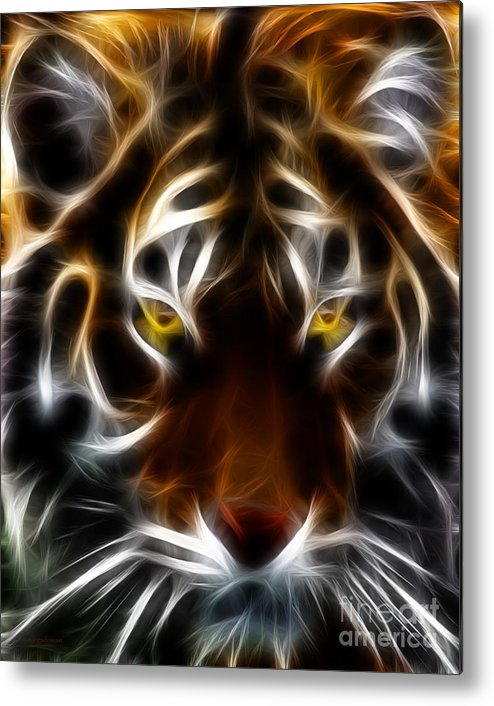 Animal Metal Print featuring the photograph Eye Of The Tiger by Wingsdomain Art and Photography