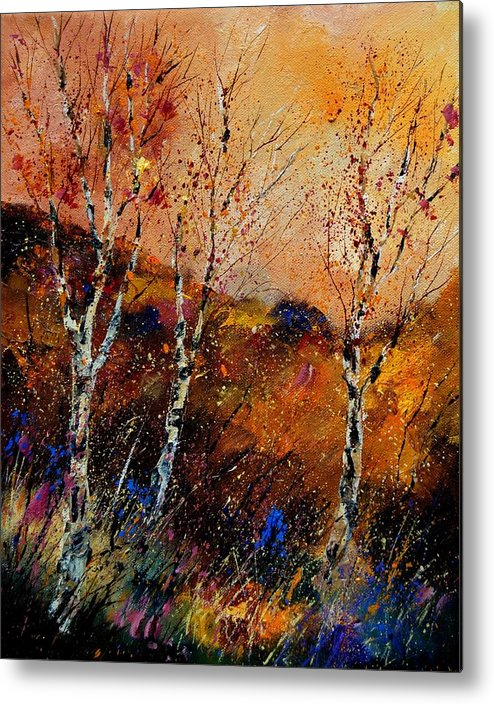River Metal Print featuring the painting 3 Poplars by Pol Ledent