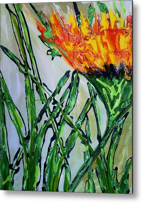 Flowers Metal Print featuring the painting Divine Flowers by Baljit Chadha