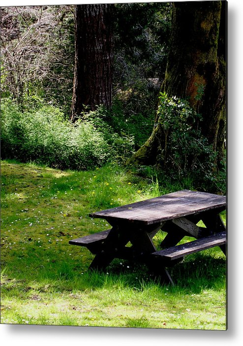 Picnic Table Metal Print featuring the painting A Peaceful Place by Valerie Josi