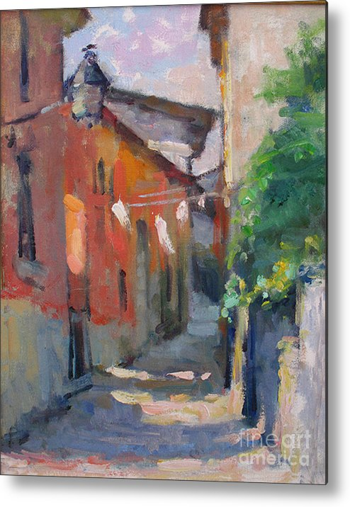 Plein-air Metal Print featuring the painting At The End Of The Alley by Jerry Fresia