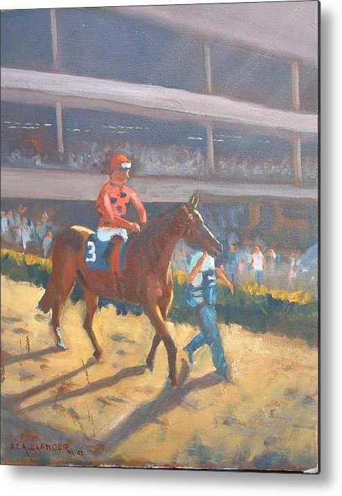 The Horses Are Approaching The Track For The Feature Race Of The Day...no. 3 Azari... Metal Print featuring the painting Azari A Sure Winner by Bryan Alexander