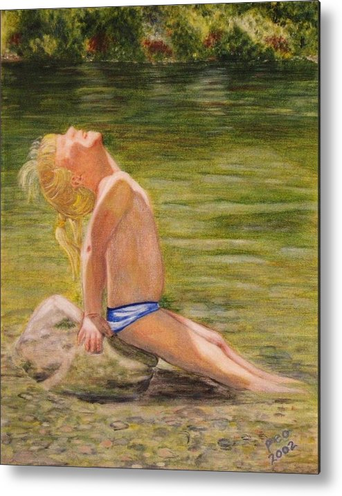 Portrait Metal Print featuring the painting Baby Sun Goddess by Patricia Ortman
