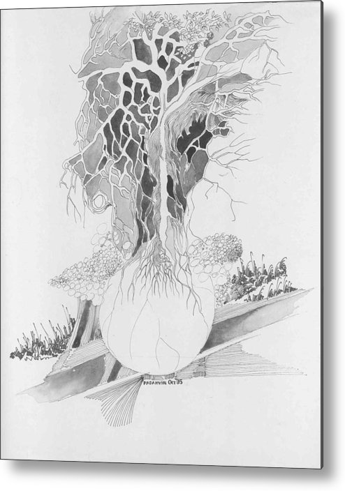 Surreal Metal Print featuring the drawing Ball And Tree by Padamvir Singh