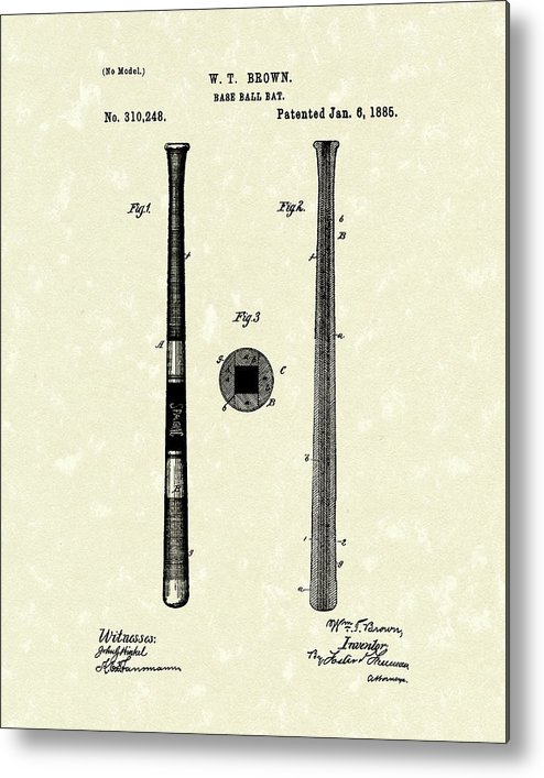 Baseball Metal Print featuring the drawing Baseball Bat 1885 Patent Art by Prior Art Design