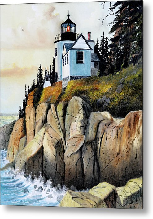 Lighthouse Metal Print featuring the painting Bass Light by Don Griffiths