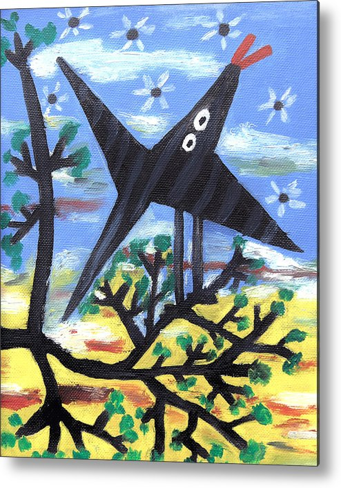 Abstract Metal Print featuring the painting Bird On A Tree After Picasso by Alexandra Jordankova
