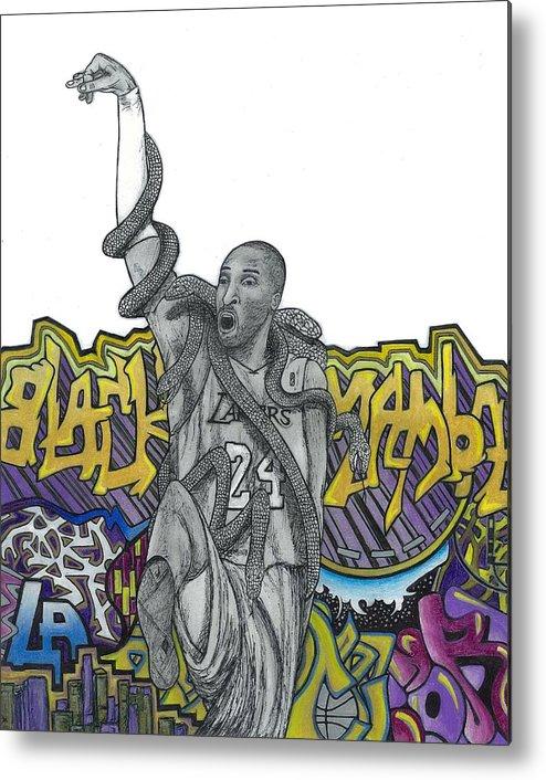 Kobe Bryant Metal Print featuring the drawing Black Mamba by Steve Weber