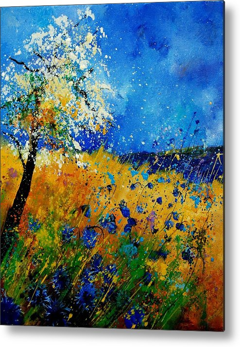 Poppies Metal Print featuring the painting Blue Cornflowers 450108 by Pol Ledent