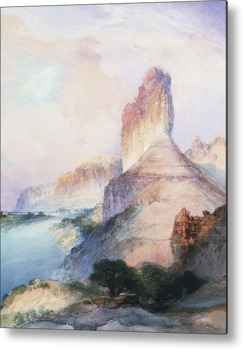 Thomas Moran Metal Print featuring the painting Butte Green River Wyoming by Thomas Moran
