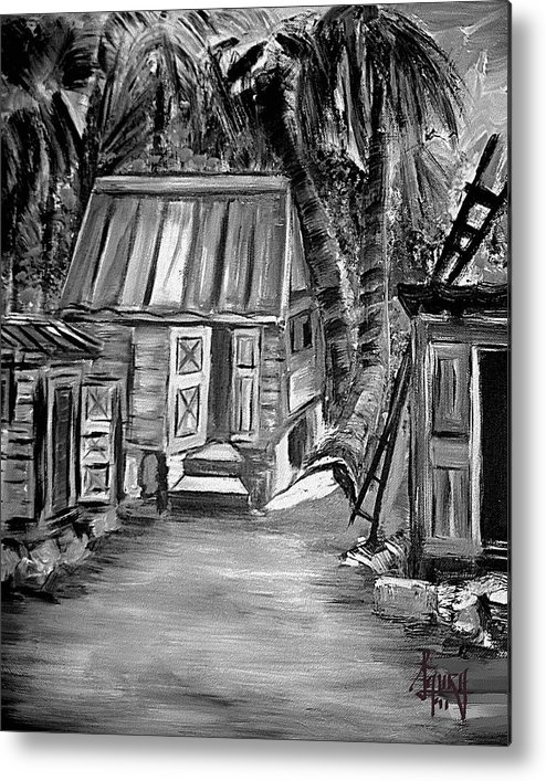 Metal Print featuring the painting Caribbean Country House by Laura Fatta
