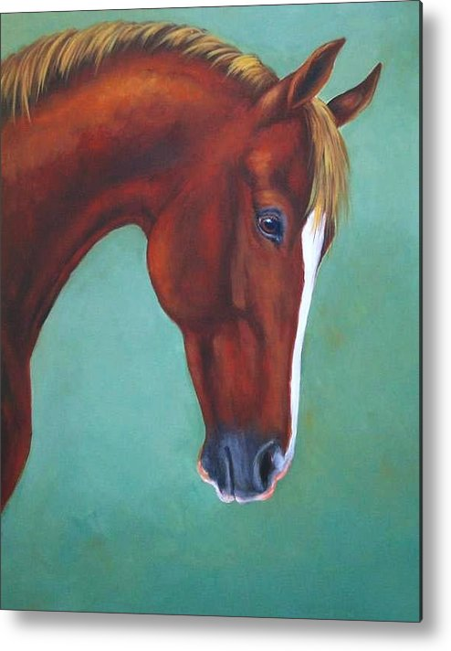 Horse Metal Print featuring the painting Chestnut Horse by Oksana Zotkina