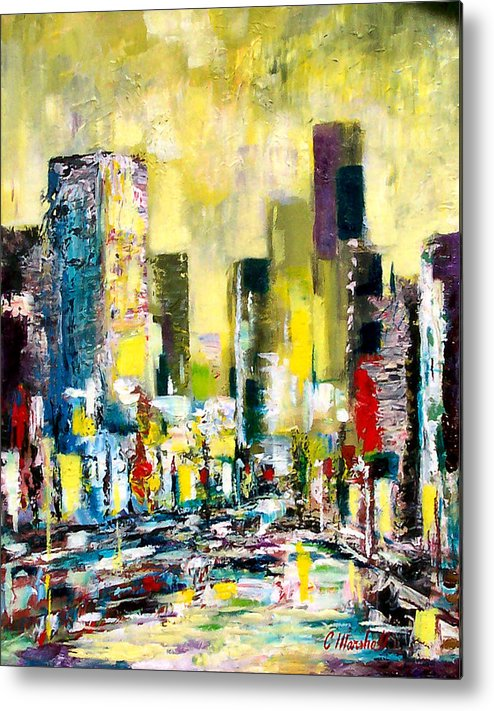Abstract Metal Print featuring the painting City Sunrise by Claude Marshall