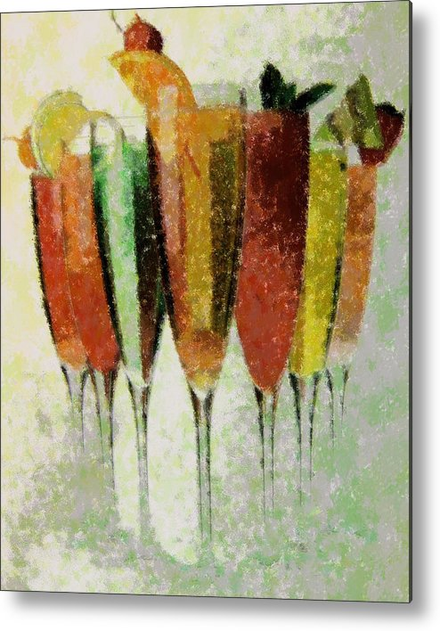 Abstract Metal Print featuring the digital art Cocktail Impression by Florene Welebny