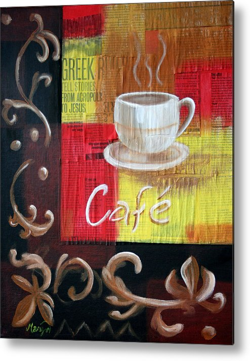 Coffee Metal Print featuring the painting Coffee by Maryn Crawford