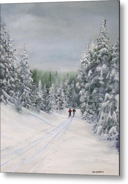 Ski. Skiing Metal Print featuring the painting Cross Country Skiers by Ken Ahlering