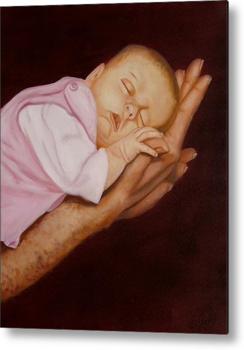 Baby Metal Print featuring the painting Daddy's Little Girl by Joni McPherson