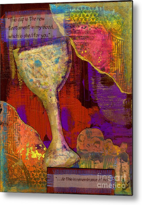 Wood Metal Print featuring the mixed media Do This In Remembrance by Angela L Walker