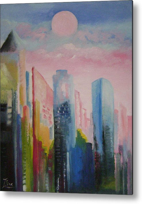 Abstract Metal Print featuring the painting Dream City No.1 by Lian Zhen
