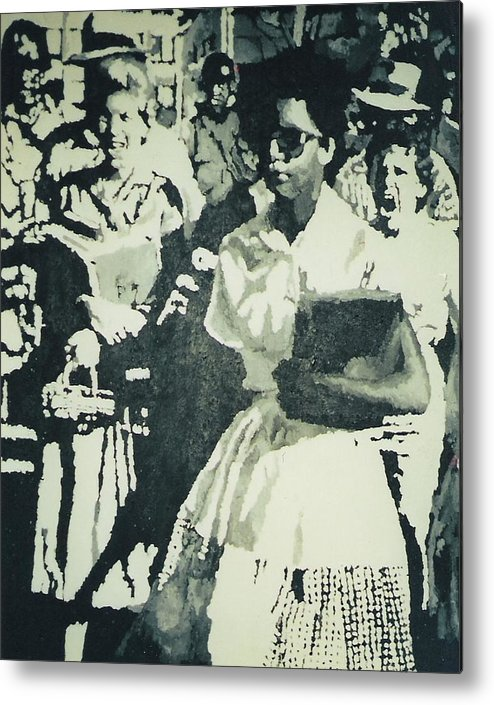 Civil Rights Metal Print featuring the painting Elizabeth Eckford Making Her Way To Little Rock High School 1958 by Lauren Luna