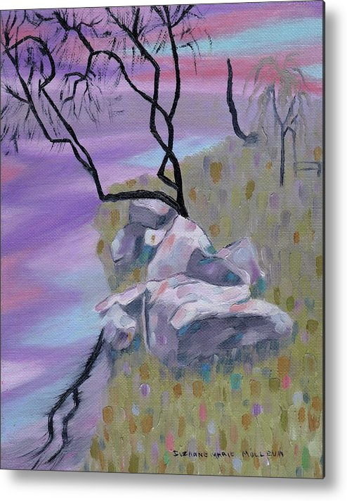 Landscape Metal Print featuring the painting Evening Reflecltion by Suzanne Marie Leclair