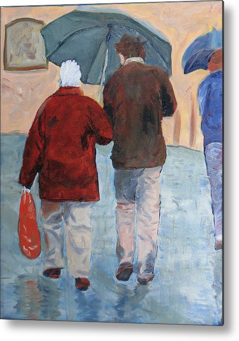Figrues Metal Print featuring the painting Father And Son Promenade by Libby Cagle