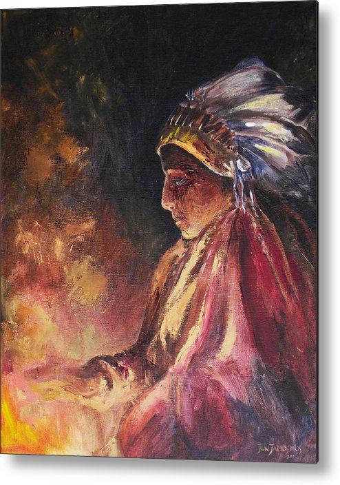Indian Metal Print featuring the painting Firehandler by Jun Jamosmos