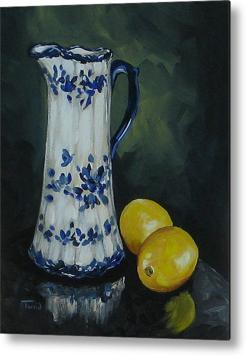 Flow Blue China Metal Print featuring the painting Flow Blue And Lemons by Torrie Smiley