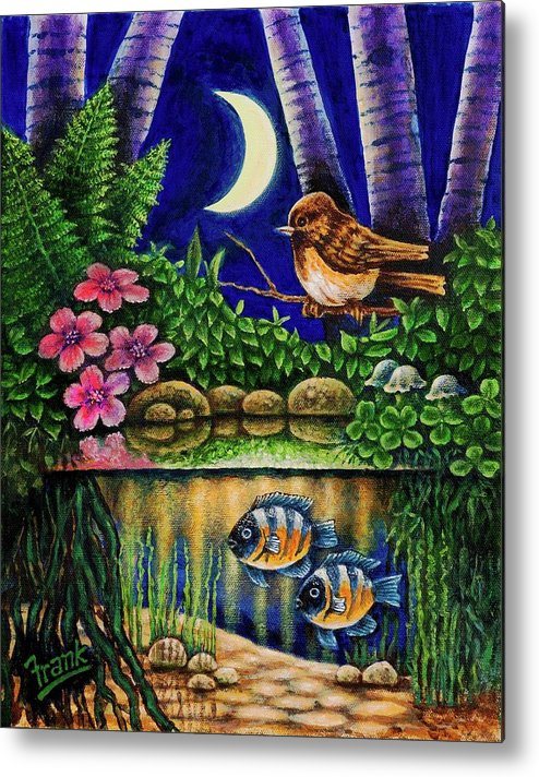 Bird Metal Print featuring the painting Forest Never Sleeps Chapter Of Quarter Moon by Michael Frank
