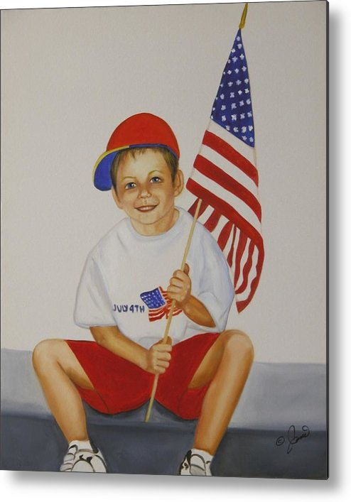 Holiday Metal Print featuring the painting Fourth Of July by Joni McPherson