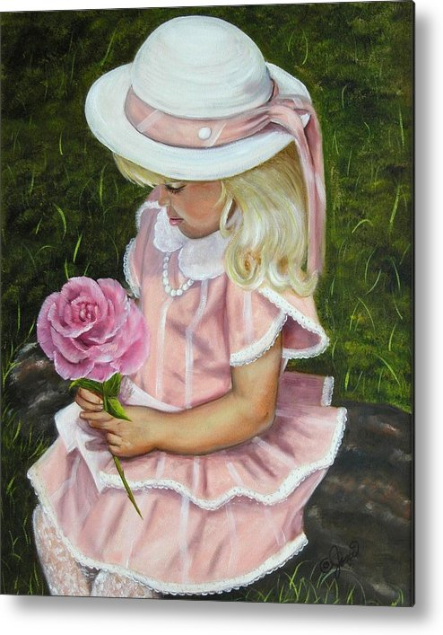 Girl Metal Print featuring the painting Girl With Rose by Joni McPherson