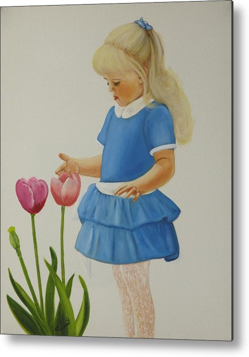 Portrait Metal Print featuring the painting Girl With Tulips by Joni McPherson