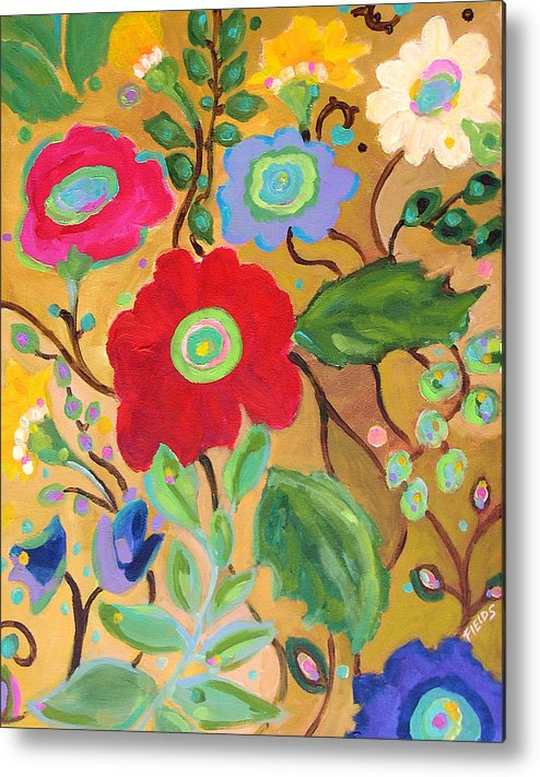 Flowers Metal Print featuring the painting Golden Garden by Karen Fields