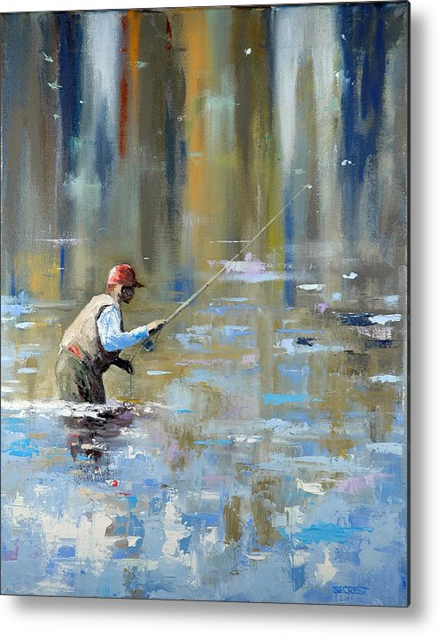 Flyfishing Metal Print featuring the painting Great Expectations by Glenn Secrest