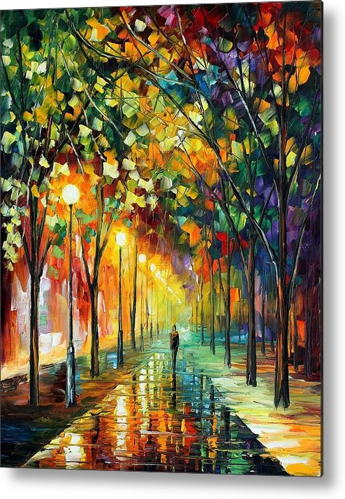 Afremov Metal Print featuring the painting Green Dreams by Leonid Afremov