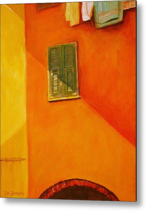 Window Metal Print featuring the painting Green Window by Jun Jamosmos