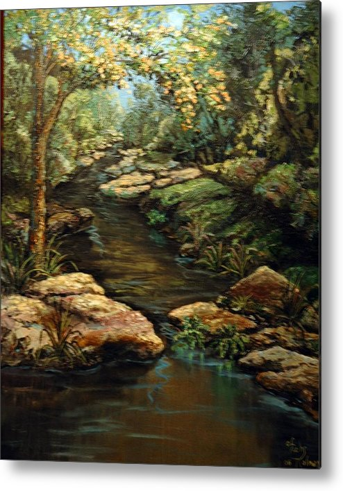 Landscape Metal Print featuring the painting Harvey's Creek by Cathy Fuchs-Holman