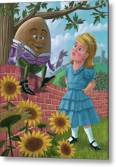 Humpty Metal Print featuring the painting Humpty Dumpty On Wall With Alice by Martin Davey