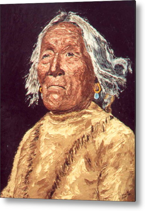 Indian Metal Print featuring the painting Indian Warrior by Stan Hamilton